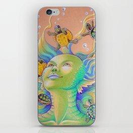 Mermaid With Baby Turtles Drawing iPhone Skin