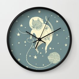 Sleepy Blue Space Cat Proves String Theory Wall Clock
