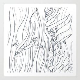 Naked swimmers line art Art Print