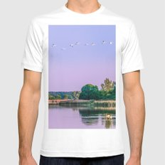 Swans are flying White MEDIUM Mens Fitted Tee