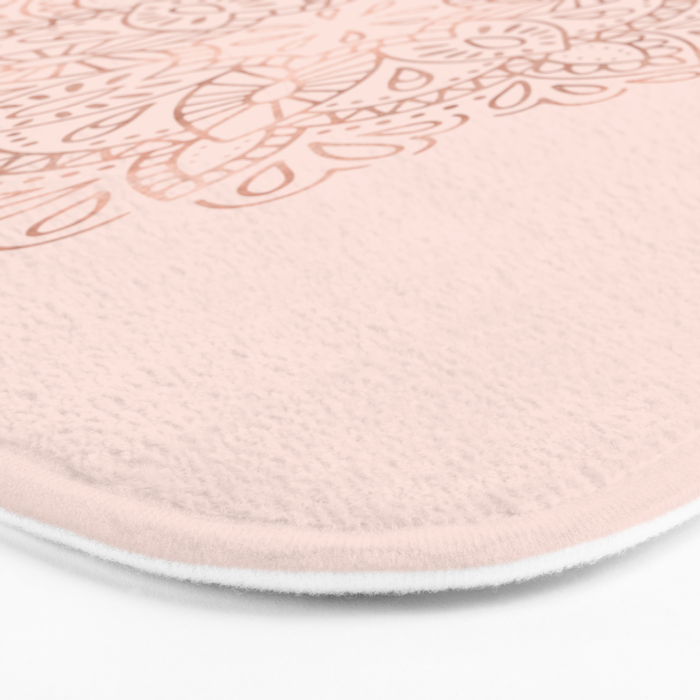 mandala rose gold pink shimmer on blush pink bath mat by