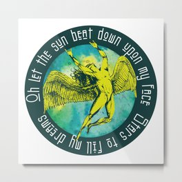 ICARUS THROWS THE HORNS 1 Metal Print