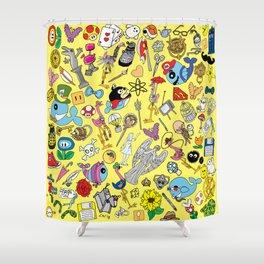 Geek Chic Megamix Yellow Shower Curtain