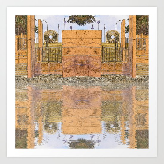 Beach stairs reflected in abstract Art Print