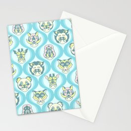 Baby Face Wearing Animal Hats Pattern - Teal Color Stationery Cards