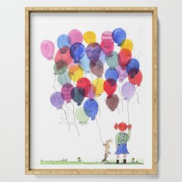 girl with balloons whimsical watercolor illustration Serving Tray