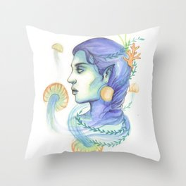 Mermaid Woman With Jellyfish Throw Pillow