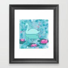 Swan on the lake Framed Art Print