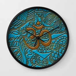 Brown on Teal Leather Embossed OM symbol Wall Clock