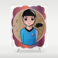 spock Shower Curtains featuring Spock by hannahroset