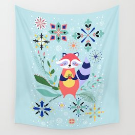 Happy Raccoon Card Wall Tapestry