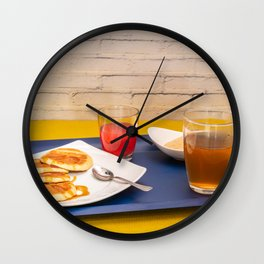 Breakfast with maple syrup pancakes Wall Clock