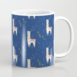 Llama on Blue Coffee Mug