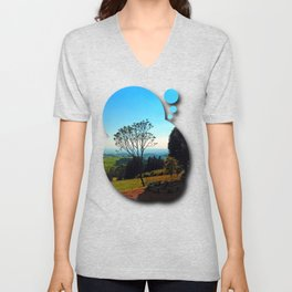 A tree, some benches and lots of scenery Unisex V-Neck