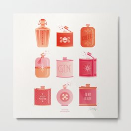 Flask Collection – Pink/Peach Ombré Palette Metal Print