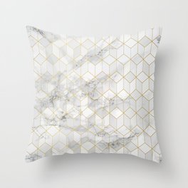 White Marble with Gold Cube Pattern Throw Pillow