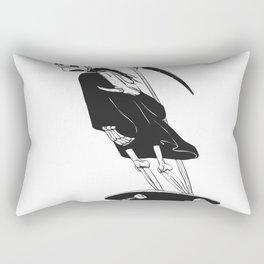 Grim reaper skater - funny skeleton - gothic monster - black and white Rectangular Pillow