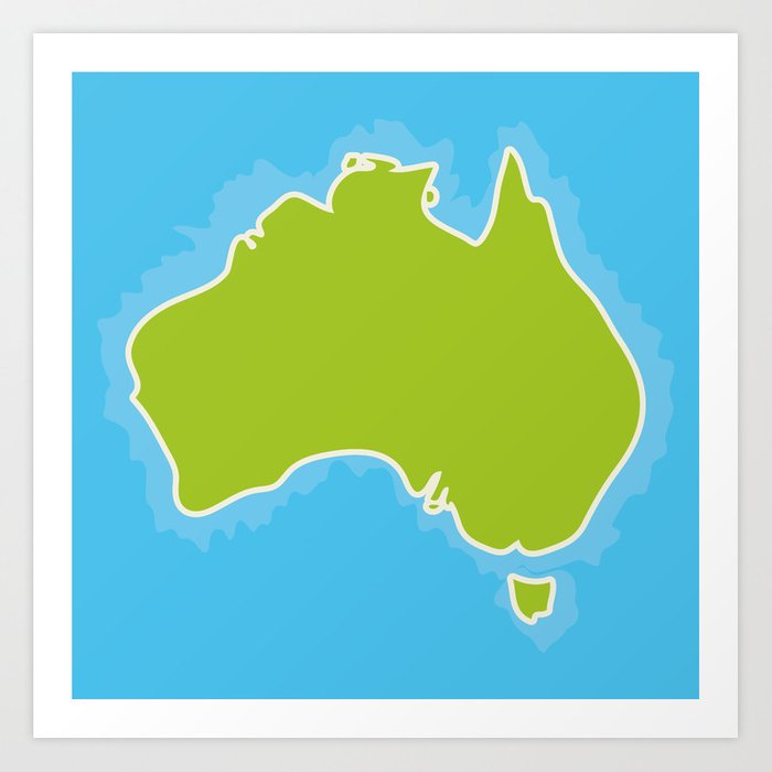 map of australia continent and blue indian ocean vector