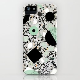 Terrazzo Design Memphis Style Green and Black iPhone Case
