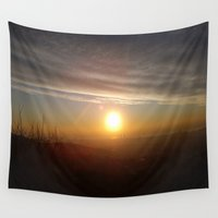 barcelona Wall Tapestries featuring Barcelona Sunrise by EzraAir
