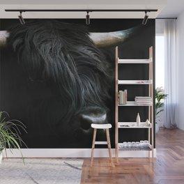 Minimalist Black Scottish Highland Cattle Portrait - Animal Photography Wall Mural