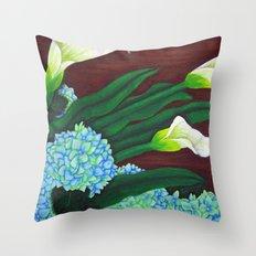 Calla Lilies & Hydrangea Throw Pillow