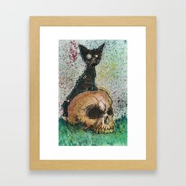 Black Cat with a Skull Framed Art Print