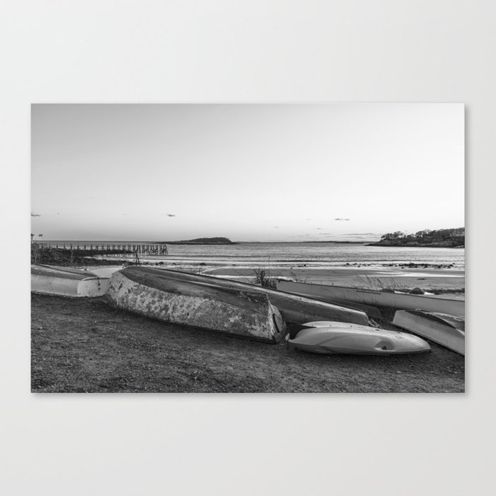 Magnolia Pier at sunset Black and white Canvas Print
