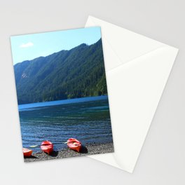 Lake Crescent With Beached Canoes Stationery Cards