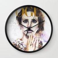 lana Wall Clocks featuring Lana by Kim Morrow