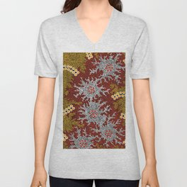 Authentic Aboriginal Art - Bushland Dreaming Unisex V-Neck