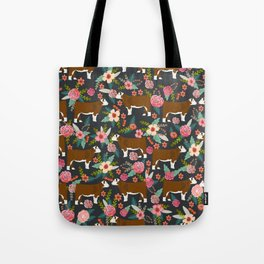 Hereford Cattle breed floral farm homestead gifts cow art florals Tote Bag