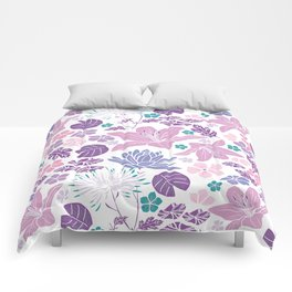 Purple and pink Japanese pond foral Comforters