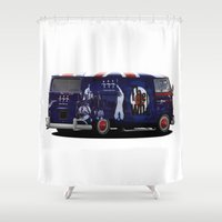 vw bus Shower Curtains featuring vw campervan The magic bus by cjsphotos
