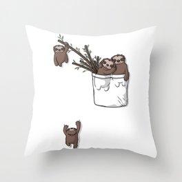 Pocket Sloth Family Throw Pillow