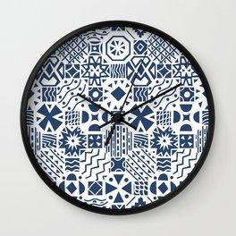 Indigo tiles Wall Clock