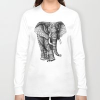 bioworkz Long Sleeve T-shirts featuring Ornate Elephant v.2 by BIOWORKZ