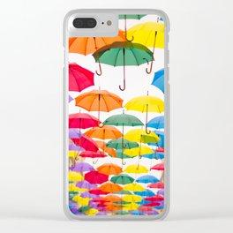 Rainbow Umbrellas Clear iPhone Case
