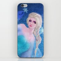 frozen elsa iPhone & iPod Skins featuring Elsa Frozen by sazrella illustration