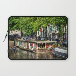 Amsterdam Houseboat on Canal Laptop Sleeve