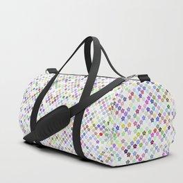 Cyberflowers pixels on white background Duffle Bag
