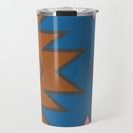 Tribal contours in blue Travel Mug