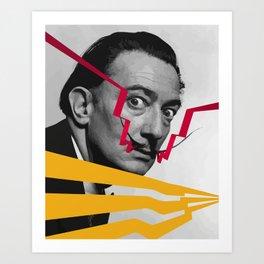 Graphic design portrait of Dali Art Print
