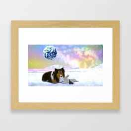 A dog, a rabbit, a turtle are basking in the earth Framed Art Print