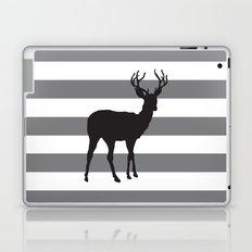 Deer in Black on Grey and White Stripes Laptop & iPad Skin
