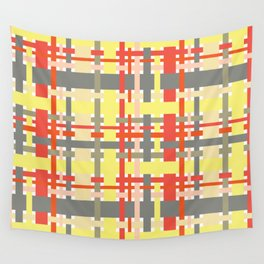 woven design orange yellow and gray Wall Tapestry