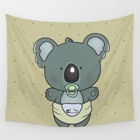 cartoons Wall Tapestries featuring Baby koala by mangulica