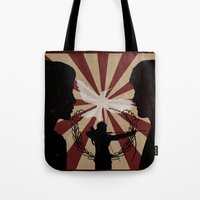 mockingjay Tote Bags featuring Mockingjay by nellfoxface