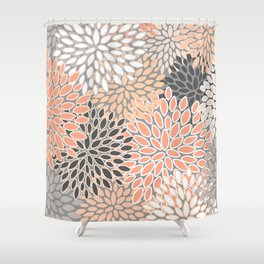 Modern, Flowers Print, Coral, Peach and Gray Shower Curtain