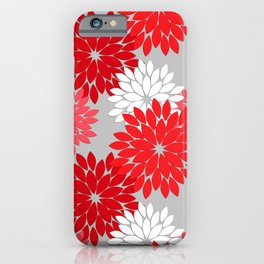Modern Floral Kimono Print, Coral Red and Gray iPhone Case